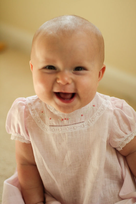 Smiling Juliet in heirloom dress